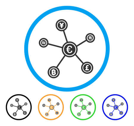 cash: Euro Financial Network Links icon. Vector illustration style is a flat iconic euro financial network links gray rounded symbol inside light blue circle with black, green, blue, yellow color versions. Illustration