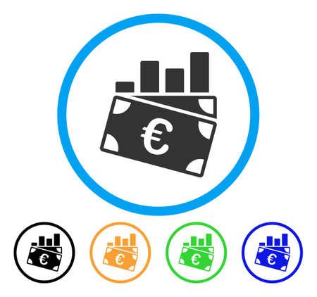 ユーロの売り上げ高のグラフ アイコン。ベクトル図のスタイルは、黒、緑、青、黄色のカラー バリエーションを持つ光の青い円の中フラット象徴的