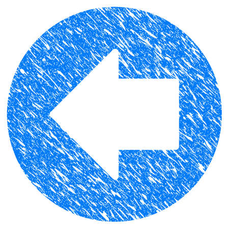 Grunge Previous Arrow icon with grunge design and dust texture. Unclean raster blue previous arrow pictogram for rubber seal stamp imitations and watermarks. Draft sticker symbol.
