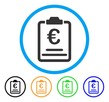 Euro Prices icon. Vector illustration style is a flat iconic Euro prices grey rounded symbol inside light blue circle with black, green, blue, yellow color versions. Illustration