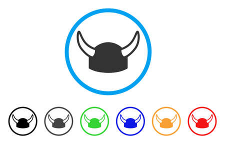 labor strong: Horned Helmet rounded icon. Style is a flat horned helmet grey symbol inside light blue circle with black, gray, green, blue, red, orange variants. Vector designed for web and software interfaces. Illustration