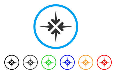 Impact Arrows rounded icon. Style is a flat impact arrows gray symbol inside light blue circle with black, gray, green, blue, red, orange color versions.