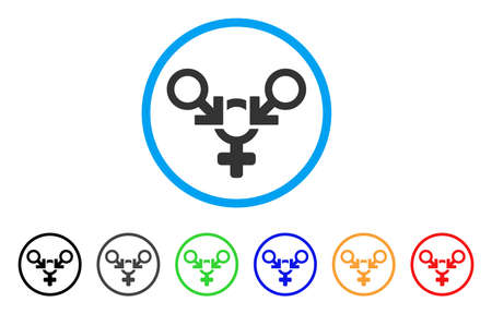 Polyandry rounded icon. Style is a flat polyandry gray symbol inside light blue circle with black, gray, green, blue, red, orange color versions. Vector designed for web and software interfaces.