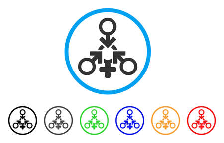 Triple Penetration Sex rounded icon. Style is a flat triple penetration sex gray symbol inside light blue circle with black, gray, green, blue, red, orange variants.