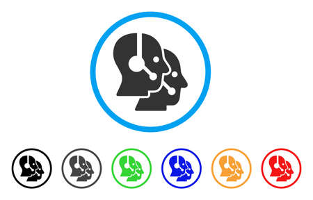 phone: Call Center Operators rounded icon. Style is a flat call center operators gray symbol inside light blue circle with black, gray, green, blue, red, orange color versions.
