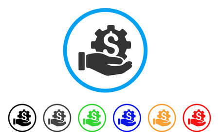 cash: Development Service rounded icon. Style is a flat development service grey symbol inside light blue circle with black, gray, green, blue, red, orange color versions.