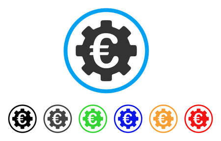cash: Euro Development Gear rounded icon. Style is a flat euro development gear gray symbol inside light blue circle with black, gray, green, blue, red, orange color versions.