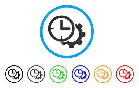 install: Time Setup Gear rounded icon. Style is a flat time setup gear grey symbol inside light blue circle with black, gray, green, blue, red, orange variants. Vector designed for web and software interfaces.