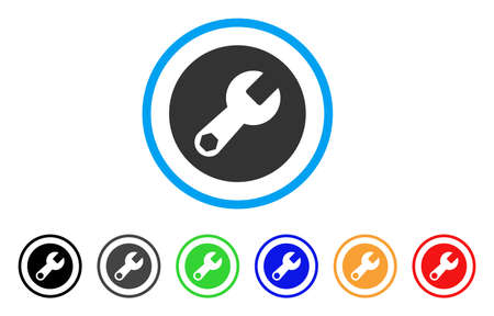 install: Wrench rounded icon. Style is a flat wrench grey symbol inside light blue circle with black, gray, green, blue, red, orange color versions. Vector designed for web and software interfaces.