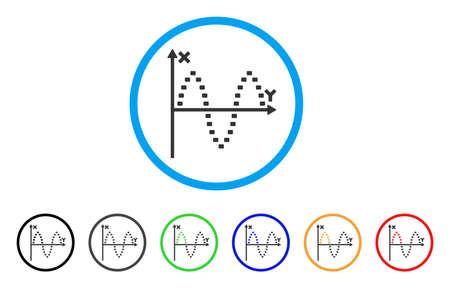 alternating current: Dotted Sinusoid Plot rounded icon. Style is a flat dotted sinusoid plot grey symbol inside light blue circle with black, gray, green, blue, red, orange versions. Illustration