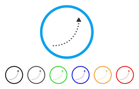 curve road: Dotted Growth Line rounded icon. Style is a flat dotted growth line grey symbol inside light blue circle with black, gray, green, blue, red, orange versions.
