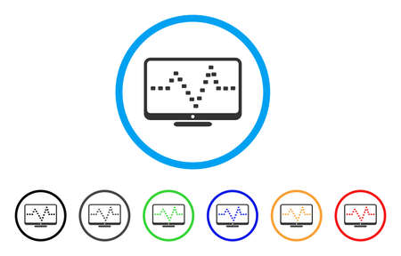 Monitor Dotted Pulse rounded icon. Style is a flat monitor dotted pulse gray symbol inside light blue circle with black, gray, green, blue, red, orange color versions. Illustration