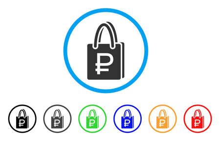 Roebel winkelen afgerond pictogram. Stijl is een grijs pictogram met platte roebels in de lichtblauwe cirkel met zwarte, grijze, groene, blauwe, rode en oranje kleurenversies. Stock Illustratie