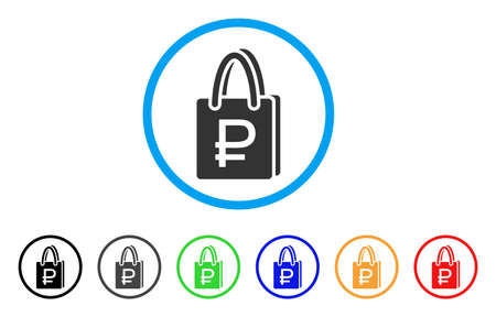 Rouble Shopping rounded icon. Style is a flat rouble shopping grey symbol inside light blue circle with black, gray, green, blue, red, orange color versions.