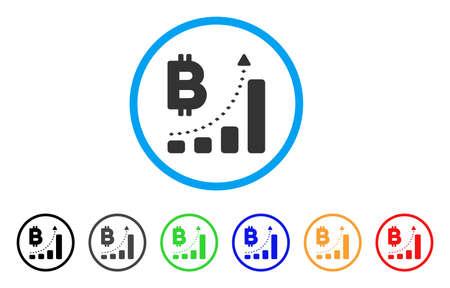 Bitcoin 棒グラフの肯定的な傾向は、アイコンを丸められます。スタイルは、黒、グレー、緑、青、赤、オレンジのバージョンと光の青い円の中図灰色