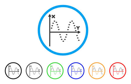 alternating current: Dotted Sine Plot rounded icon. Style is a flat dotted sine plot gray symbol inside light blue circle with black, gray, green, blue, red, orange variants.