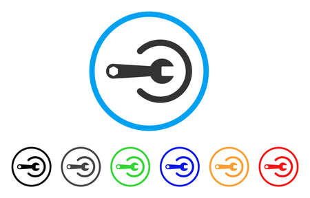 install: Service rounded icon. Style is a flat service grey symbol inside light blue circle with black, gray, green, blue, red, orange variants. Vector designed for web and software interfaces.