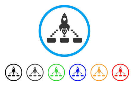 Space Rocket Collaboration rounded icon. Style is a flat space rocket collaboration grey symbol inside light blue circle with black, gray, green, blue, red, orange color versions.
