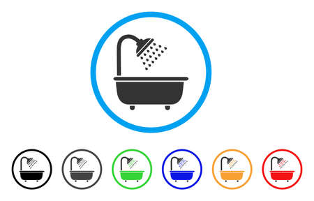 Bath Shower rounded icon. Style is a flat bath shower gray symbol inside light blue circle with black, gray, green, blue, red, orange variants. Vector designed for web and software interfaces. Ilustração