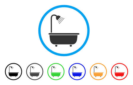 Bath Shower rounded icon. Style is a flat bath shower gray symbol inside light blue circle with black, gray, green, blue, red, orange color versions. Vector designed for web and software interfaces. Banco de Imagens - 86144580