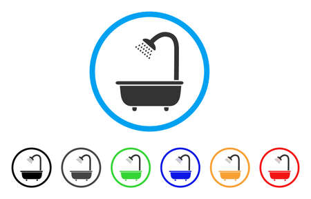 Bath Shower rounded icon. Style is a flat bath shower gray symbol inside light blue circle with black, gray, green, blue, red, orange color versions. Vector designed for web and software interfaces.