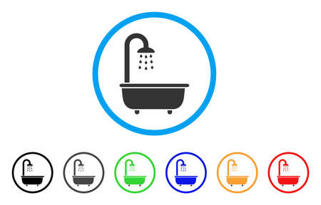 Bath Shower rounded icon. Style is a flat bath shower grey symbol inside light blue circle with black, gray, green, blue, red, orange versions. Vector designed for web and software interfaces.
