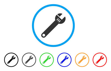 Spanner rounded icon. Style is a flat spanner gray symbol inside light blue circle with black, gray, green, blue, red, orange versions. Vector designed for web and software interfaces. Illustration