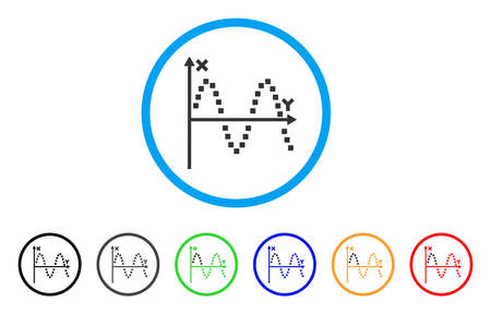 Sine Plot rounded icon. Style is a flat sine plot gray symbol inside light blue circle with black, gray, green, blue, red, orange variants. Vector designed for web and software interfaces. Vetores