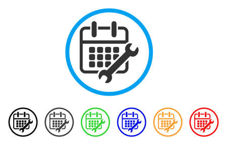 Calendar Configure rounded icon. Style is a flat calendar configure grey symbol inside light blue circle with black, gray, green, blue, red, orange versions.