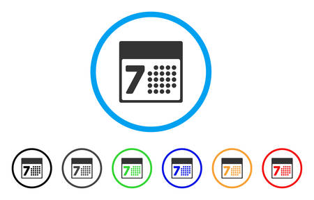 calendar design: Calendar Week rounded icon. Style is a flat calendar week grey symbol inside light blue circle with black, gray, green, blue, red, orange color versions.