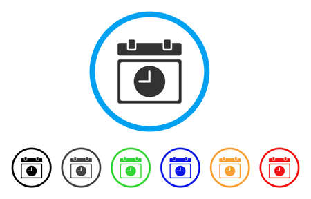 calendar design: Time Schedule rounded icon. Style is a flat time schedule gray symbol inside light blue circle with black, gray, green, blue, red, orange color versions.
