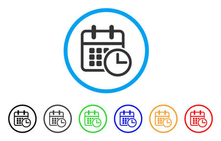 calendar design: Timetable rounded icon. Style is a flat timetable grey symbol inside light blue circle with black, gray, green, blue, red, orange versions. Vector designed for web and software interfaces. Illustration