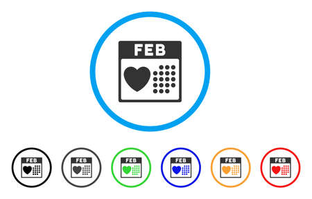 calendar design: Valentine February Day rounded icon. Style is a flat valentine february day grey symbol inside light blue circle with black, gray, green, blue, red, orange color versions.