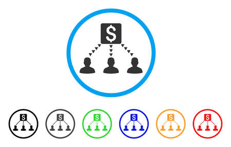 cash: Money Recipients rounded icon. Style is a flat money recipients gray symbol inside light blue circle with black, gray, green, blue, red, orange color versions.