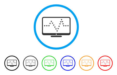 health care analytics: Monitor Dotted Pulse rounded icon. Style is a flat monitor dotted pulse grey symbol inside light blue circle with black, gray, green, blue, red, orange versions.