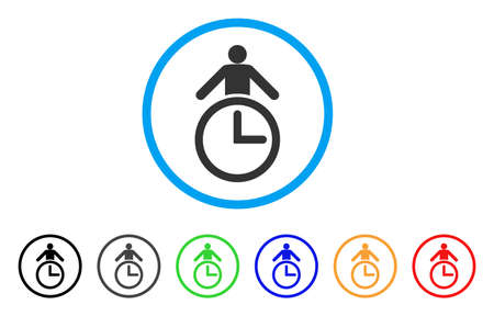 Time Manager rounded icon. Style is a flat time manager gray symbol inside light blue circle with black, gray, green, blue, red, orange variants. Vector designed for web and software interfaces. Illustration