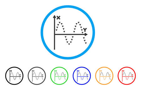 alternating current: Dotted Sine Plot rounded icon. Style is a flat dotted sine plot grey symbol inside light blue circle with black, gray, green, blue, red, orange variants. Illustration
