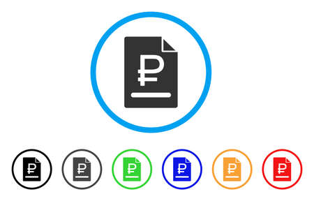 Rouble Bill rounded icon. Style is a flat rouble bill grey symbol inside light blue circle with black, gray, green, blue, red, orange versions. Vector designed for web and software interfaces.