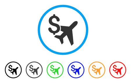 Aviation Business rounded icon. Style is a flat aviation business grey symbol inside light blue circle with black, gray, green, blue, red, orange variants. Illustration