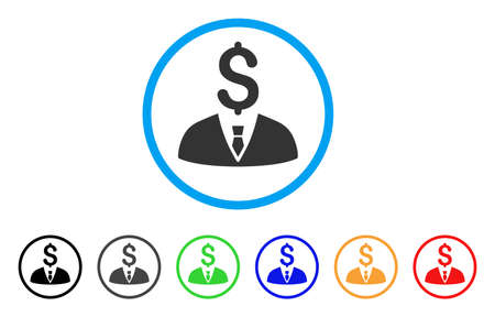 moneymaker: Businessman rounded icon. Style is a flat businessman grey symbol inside light blue circle with black, gray, green, blue, red, orange color versions. Vector designed for web and software interfaces.