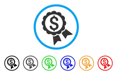 seal of approval: Featured Price Label rounded icon. Style is a flat featured price label grey symbol inside light blue circle with black, gray, green, blue, red, orange color versions. Illustration