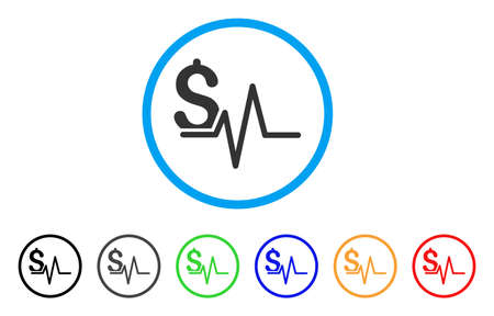 Financial Pulse rounded icon. Style is a flat financial pulse gray symbol inside light blue circle with black, gray, green, blue, red, orange versions. Vector designed for web and software interfaces.
