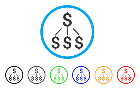 Financial Structure rounded icon. Style is a flat financial structure gray symbol inside light blue circle with black, gray, green, blue, red, orange versions.