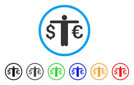 scale of justice: Person Compare Euro Dollar rounded icon. Style is a flat person compare euro dollar gray symbol inside light blue circle with black, gray, green, blue, red, orange versions. Illustration