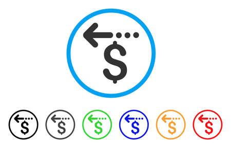 丸いアイコンを返金いたします。スタイルは、黒、グレー、緑、青、赤、オレンジのバージョンと光の青い円の中フラット払い戻し灰色のシンボル