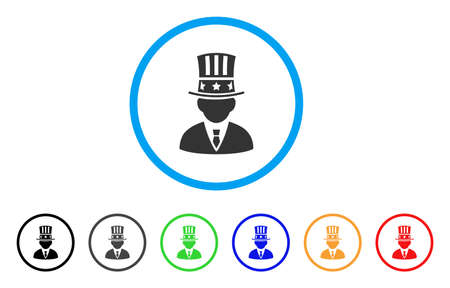 American Capitalist rounded icon. Style is a flat american capitalist grey symbol inside light blue circle with black, gray, green, blue, red, orange variants. Illustration