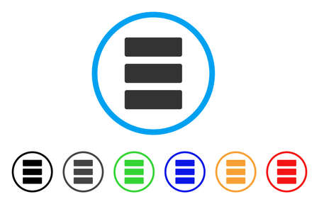 Database rounded icon. Style is a flat database grey symbol inside light blue circle with black, gray, green, blue, red, orange variants. Vector designed for web and software interfaces. Illustration