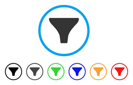 Filter rounded icon. Style is a flat filter gray symbol inside light blue circle with black, gray, green, blue, red, orange variants. Vector designed for web and software interfaces. Vector Illustration