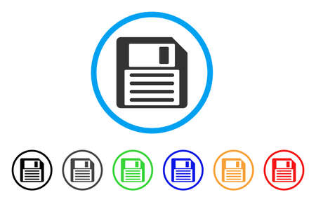 Floppy Disk rounded icon. Style is a flat floppy disk gray symbol inside light blue circle with black, gray, green, blue, red, orange color versions. Vector designed for web and software interfaces. Illustration