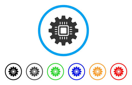 electronic components: Chip Development Gear rounded icon. Style is a flat chip development gear grey symbol inside light blue circle with black, gray, green, blue, red, orange color versions. Illustration
